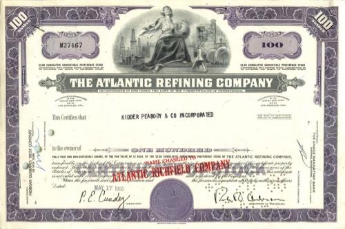 100 акций «The Atlantic Refining Company» 1966 года (США)