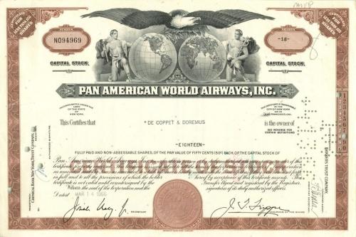 18 акций «Pan American World Airways, Inc» 1966 года (США)