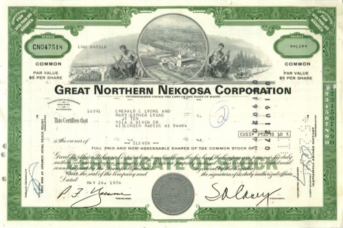 11 акций «Great Northern Nekoosa Corporation» 1976 года (США)