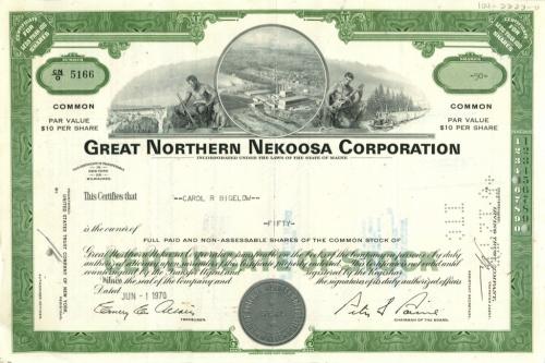 50 акций «Great Northern Nekoosa Corporation» 1970 года (США)