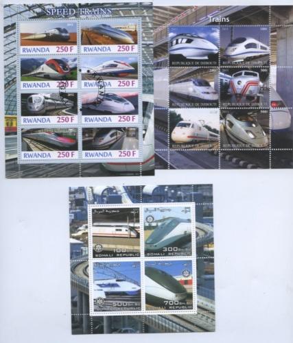 Набор почтовых марок «Скоростные поезда» (разные страны)