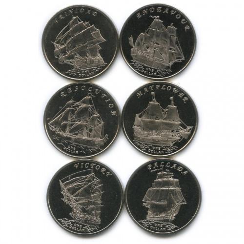 Набор монет 1 доллар - Знаменитые Парусники, Острова Гилберта 2014 года