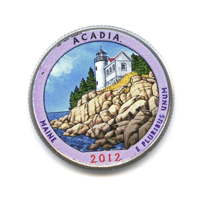 25 центов (квотер) — Национальный парк Акадия, вцвете 2012 года D (США)