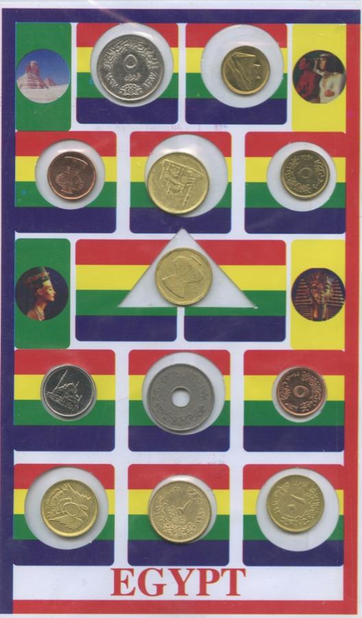 Набор монет (спочтовыми марками) (Египет)