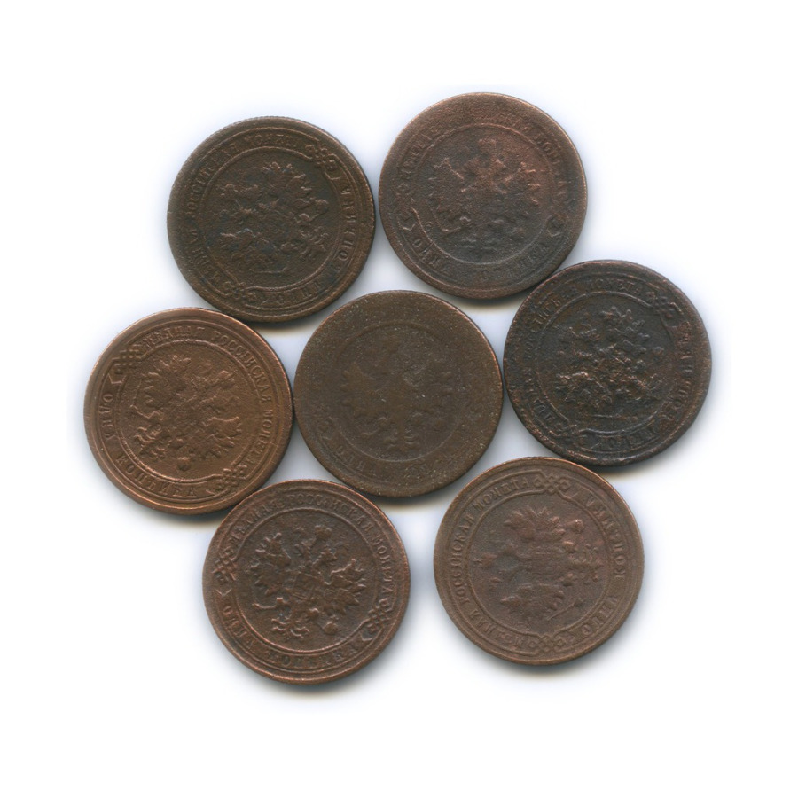 Набор монет 1 копейка (без 1896, 1902) 1895-1903 (Российская Империя)