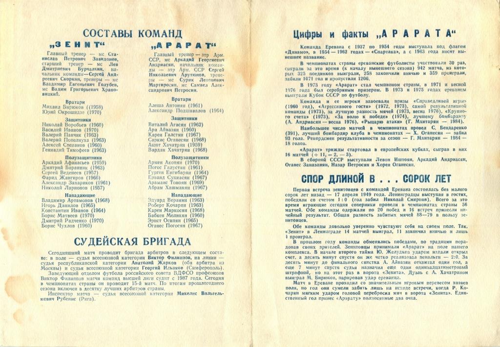 Программа кматчу «Зенит» - «Кайрат» 1989 года (СССР)