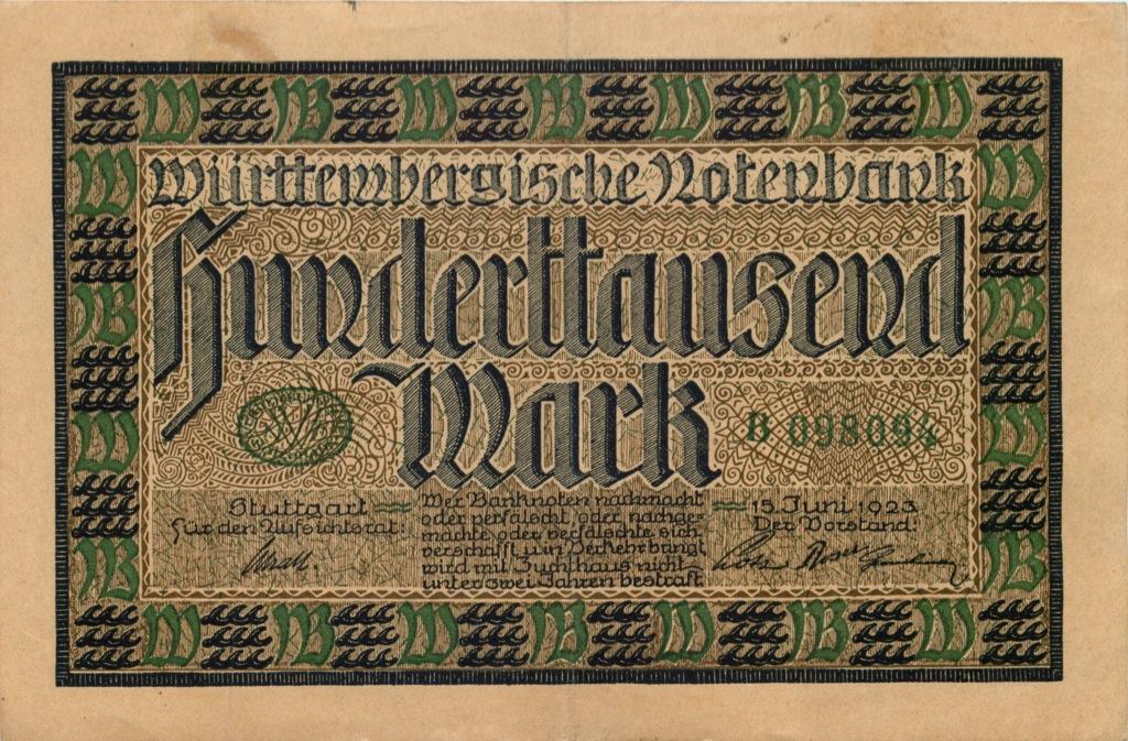 100 тысяч марок, Штутгарт 1923 года (Германия)