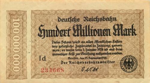 100 миллионов марок, Берлин 1923 года (Германия)