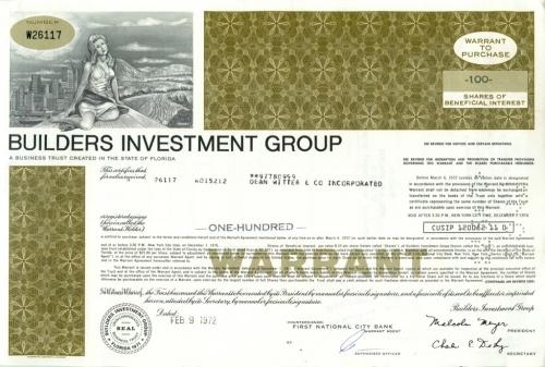 100 акций («Builders Investment Group») 1972 года (США)