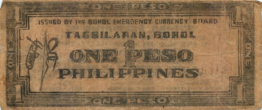 1 песо (о-в Бохоль) 1942 года (Филиппины)