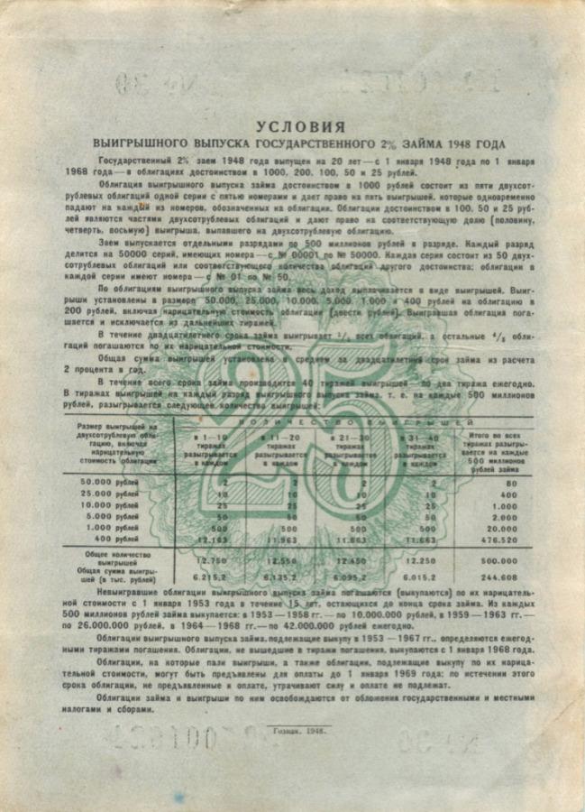 25 рублей (облигация) 1948 года (СССР)