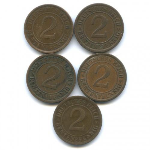 Набор монет 2 рентенпфеннига 1924 года A (Германия)