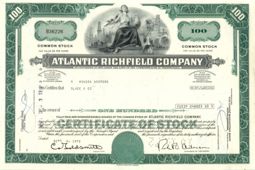 100 акций («Atlantic Richfield Company») 1972 года (США)