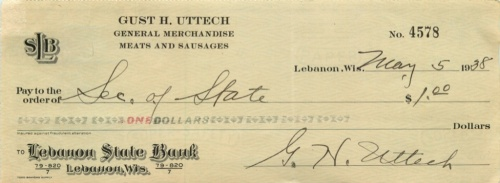 1 доллар (чек банковский) 1938 года (Ливан)
