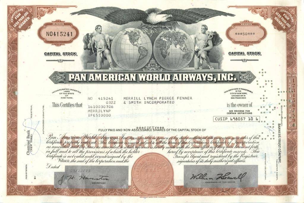 50 акций «Pan American World Airways, Inc» 1973 года (США)