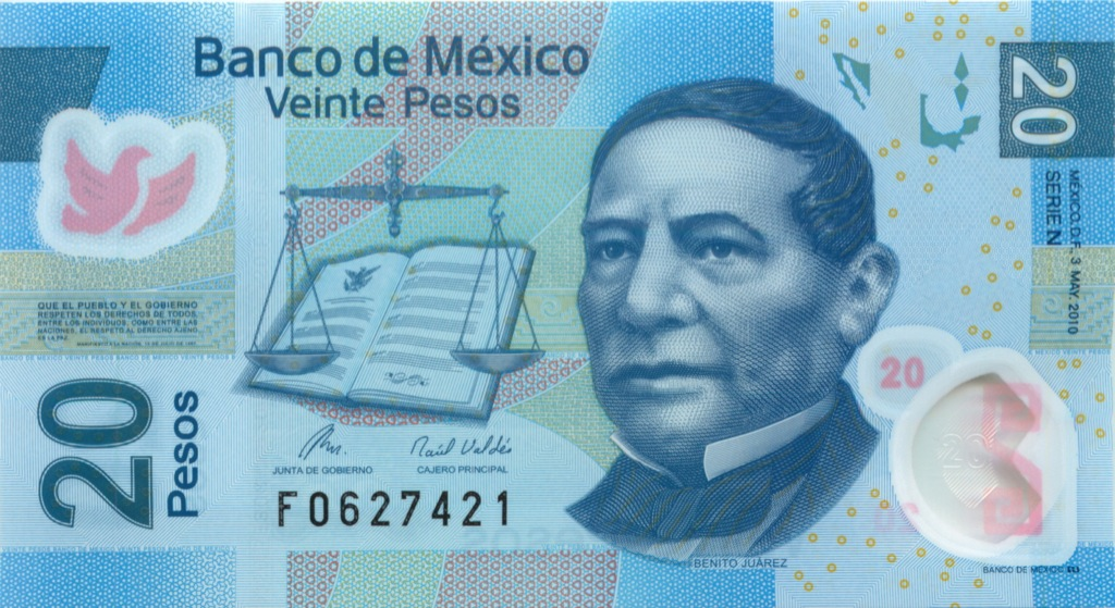 20 песо (пластик) 2010 года (Мексика)