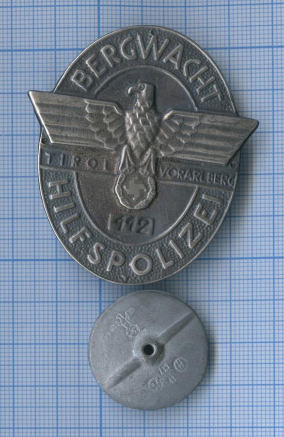 Служебный знак горноспасательной бригады (Bergwacht-Hilfspolizei), копия (Германия (Третий рейх))