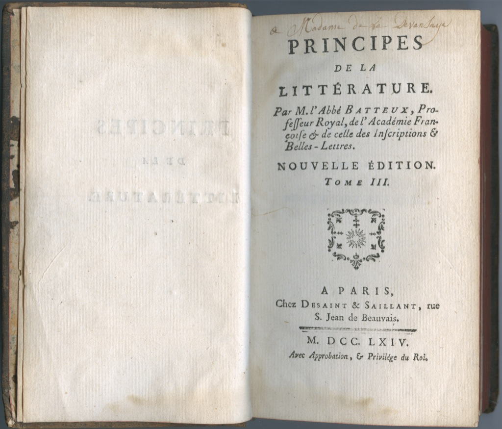 Книга «Основы литературы», Париж (463 стр.) 1764 года (Франция)