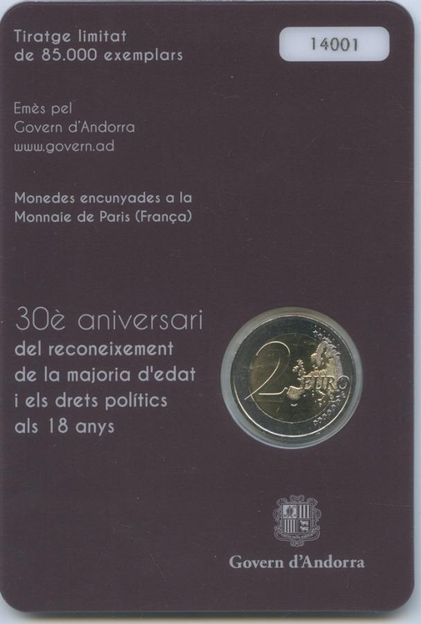 2 евро - 30-летие принятия возраста совершеннолетия в18 лет (Андорра, вблистере) 2015 года