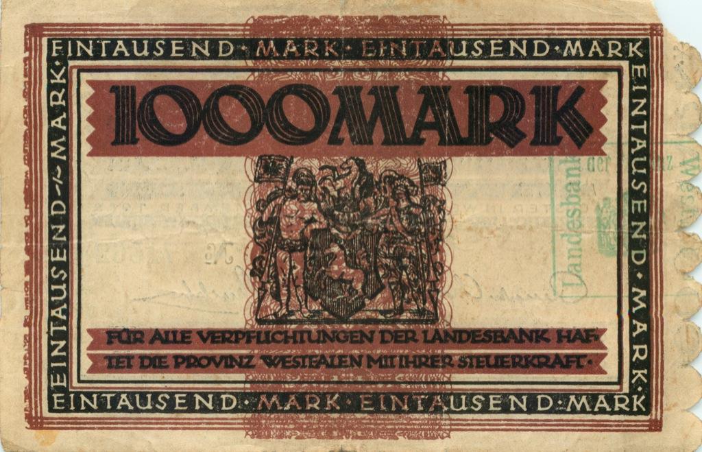 1000 марок (Мюнхен, Вестфалия) 1922 года (Германия)