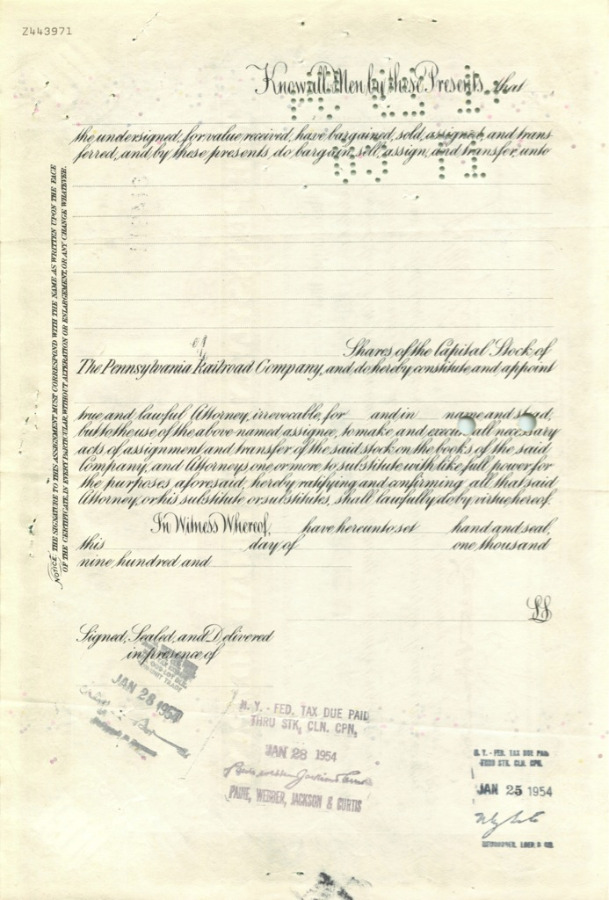 100 акций («The Pennsylvania Railroad Company») 1954 года (США)