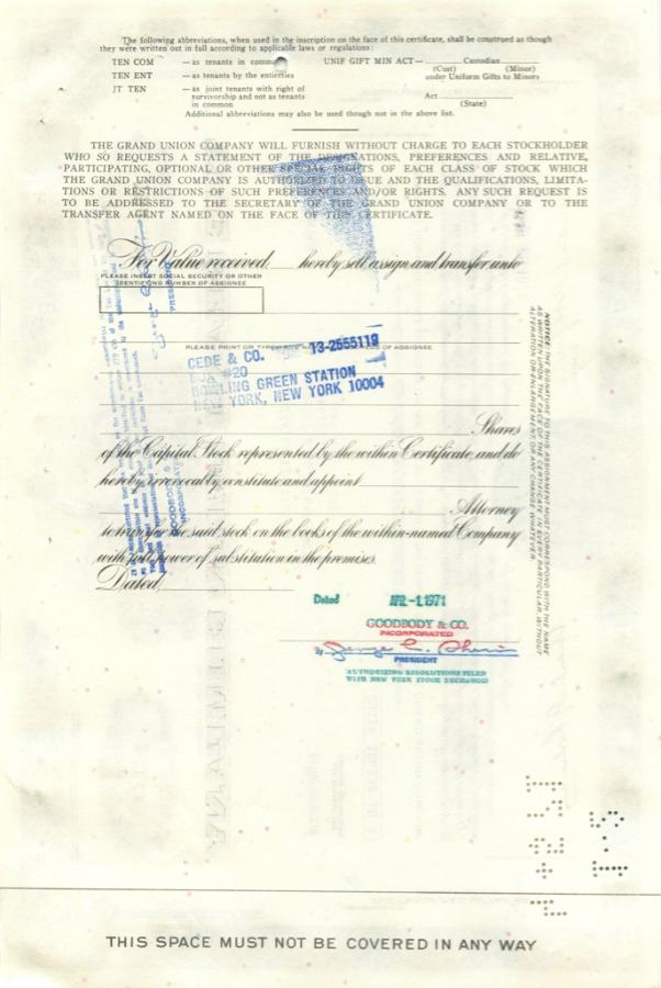 100 акций («The Grand Union Company») 1971 года (США)