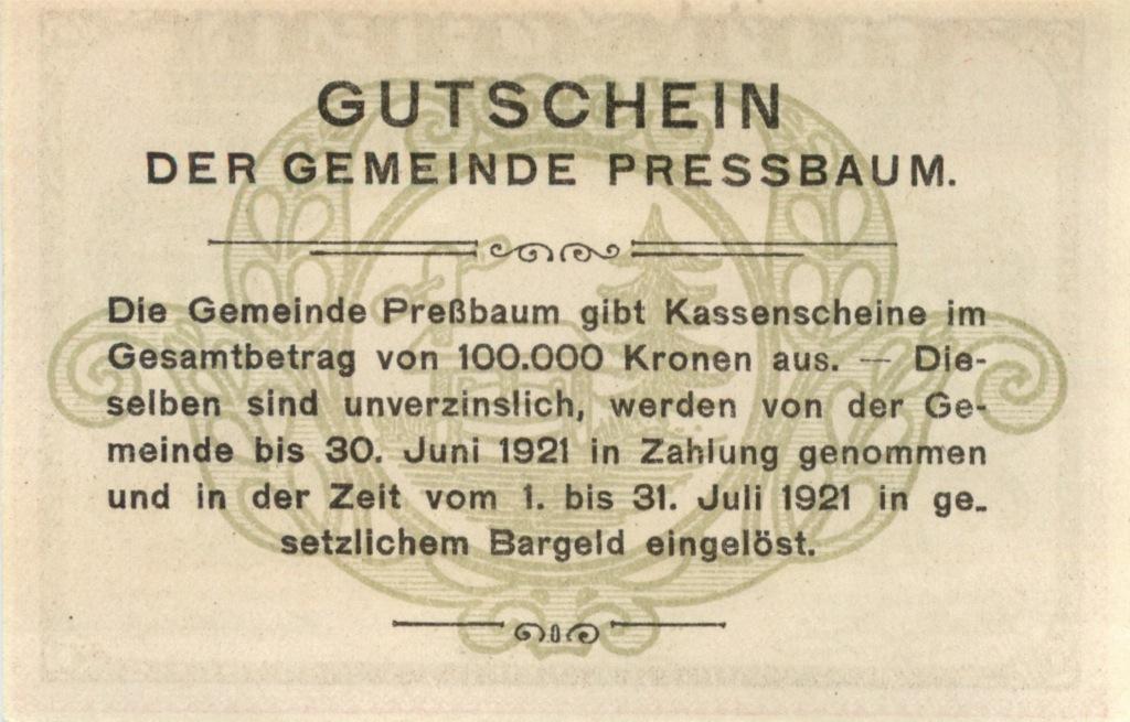 80 геллеров (нотгельд) 1921 года (Австрия)