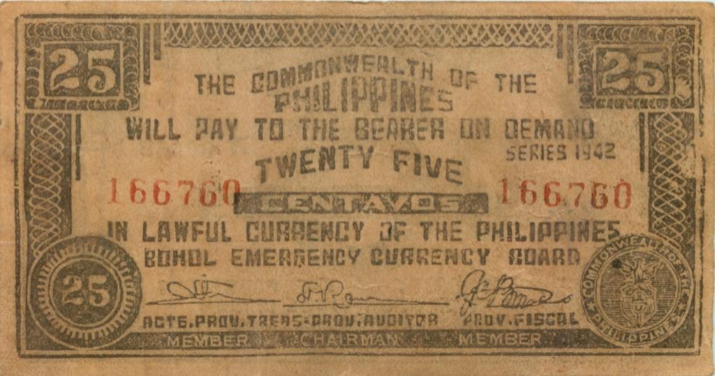 25 сентаво (о-в Бохоль) 1942 года (Филиппины)