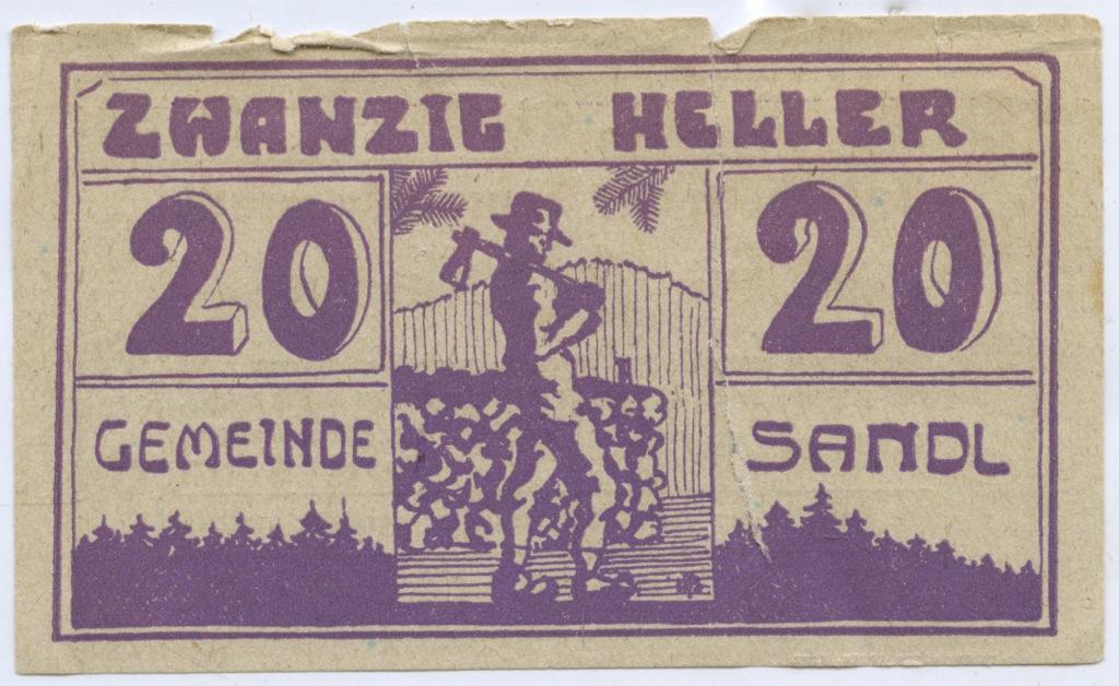 20 геллеров (нотгельд, надорвана) 1920 года (Австрия)
