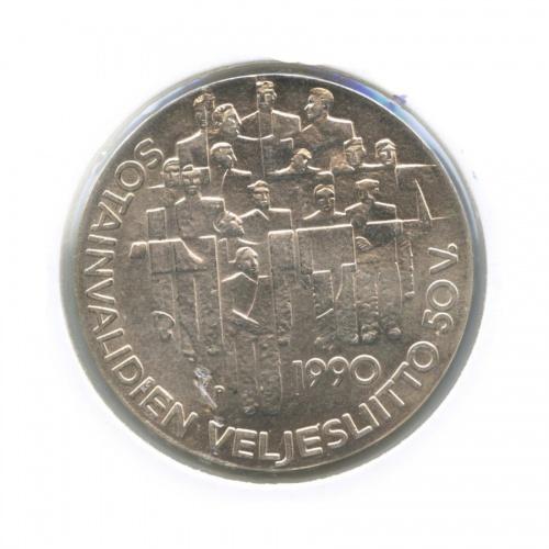 100 марок — 50 лет Ассоциации ветеранов-инвалидов войны (вхолдере) 1990 года (Финляндия)
