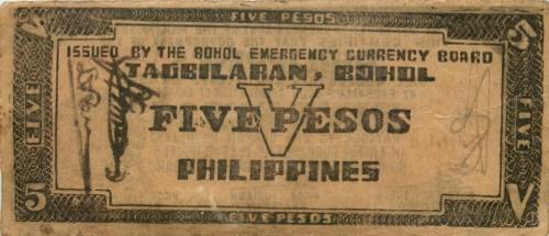 5 песо (о-в Бохоль) 1942 года (Филиппины)