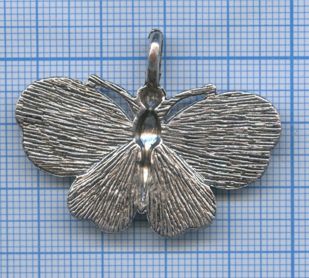 Подвеска «Бабочка» (белый металл, тяжелая)
