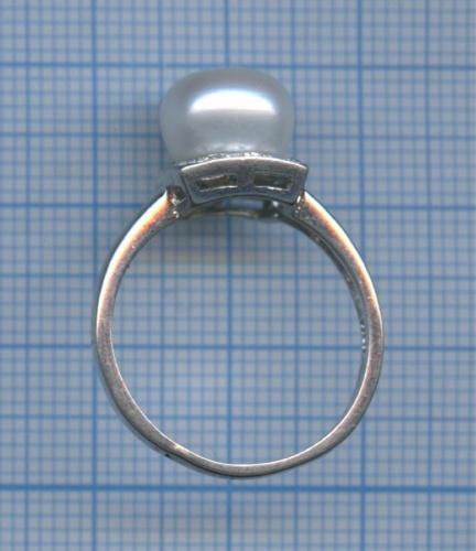 Кольцо (серебро 925 пробы, сфианитами, сискусственным жемчугом)