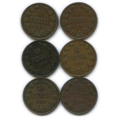 Набор монет 10 пенни (Российская Империя)