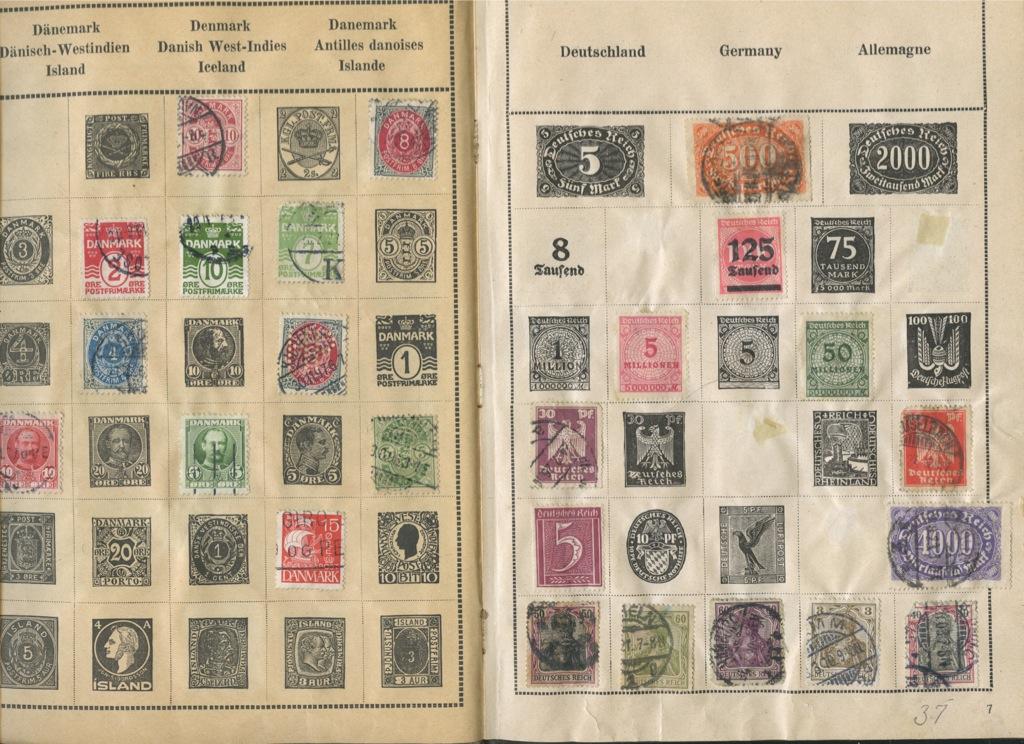 Набор почтовых марок (вальбоме, 36 частично заполненных листов, разные страны)