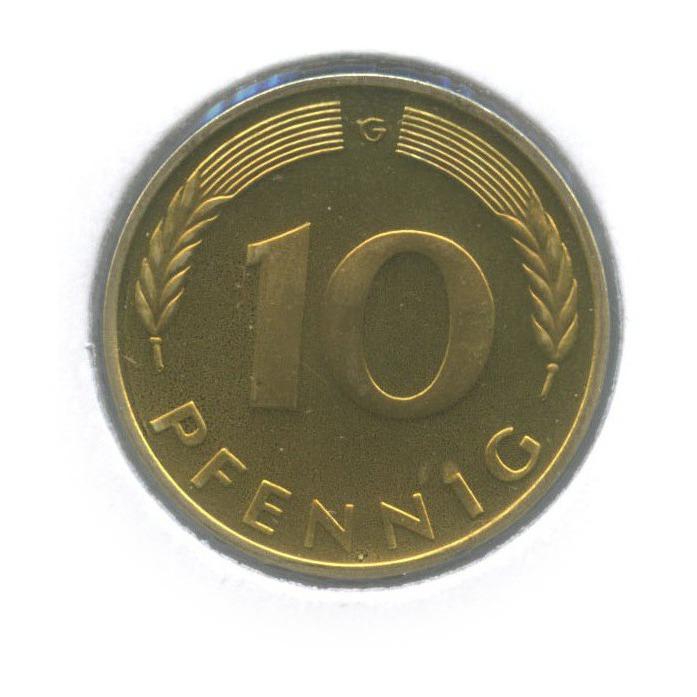 10 пфеннигов (вхолдере) 1976 года G (Германия)