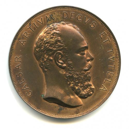Медаль настольная «Впамять 50-летия Финляндского общества художеств, 1896 год», бронза, Ø 4,7см
