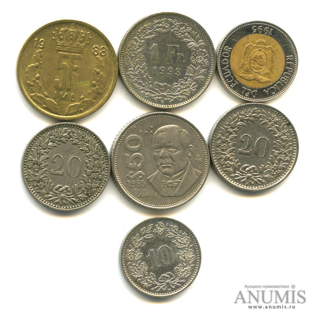 Лот монет разных стран, 7 шт